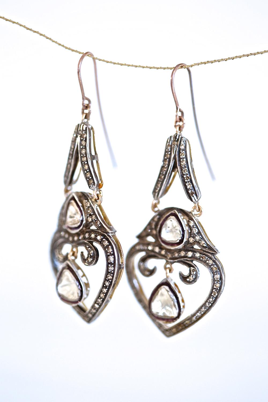 tear diamond earrings, Unique 14k rose gold diamonds drop earrings, set with old diamonds on top silver.