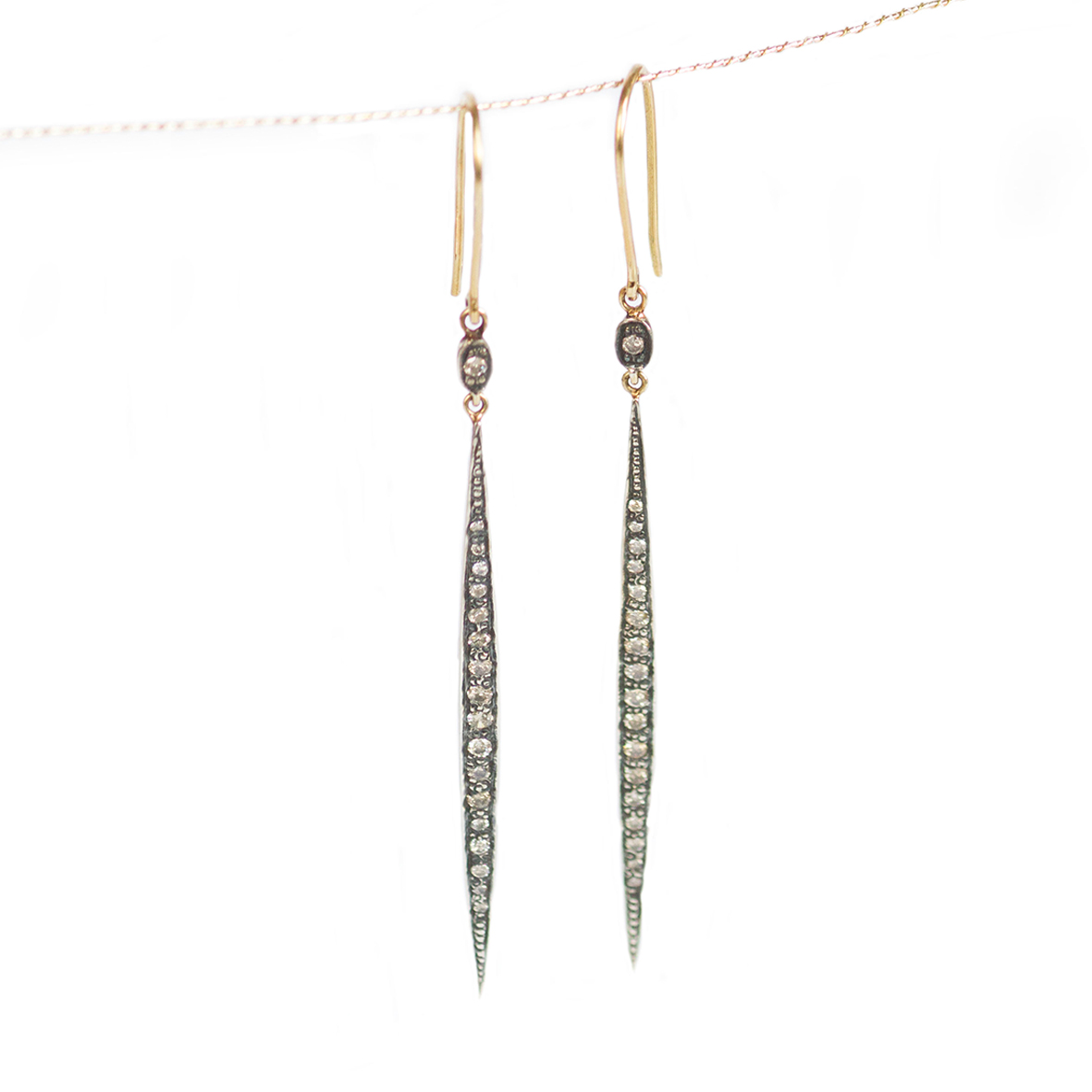 Leaf diamond drop earrings0803