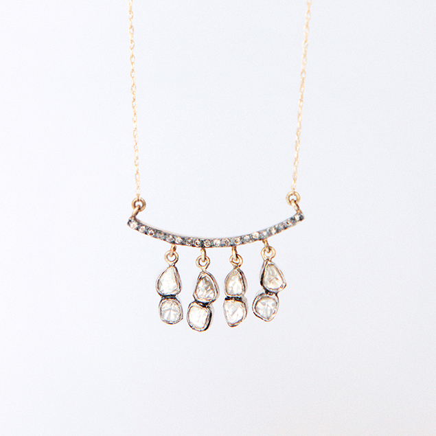 flat diamond bar necklace