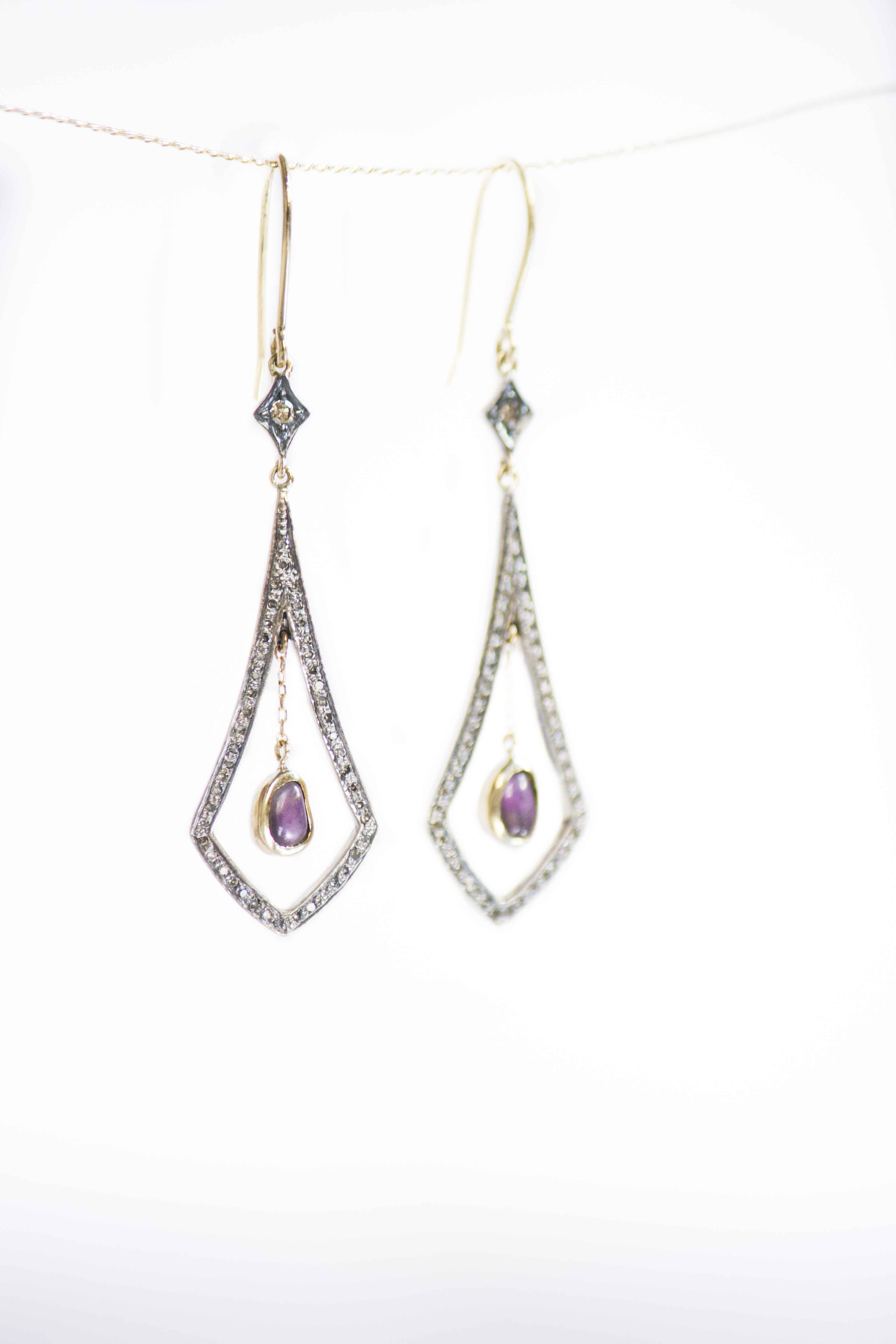 spinel drop earrings Fine drop earrings in 14k yellow gold with diamond pave and rough spinels