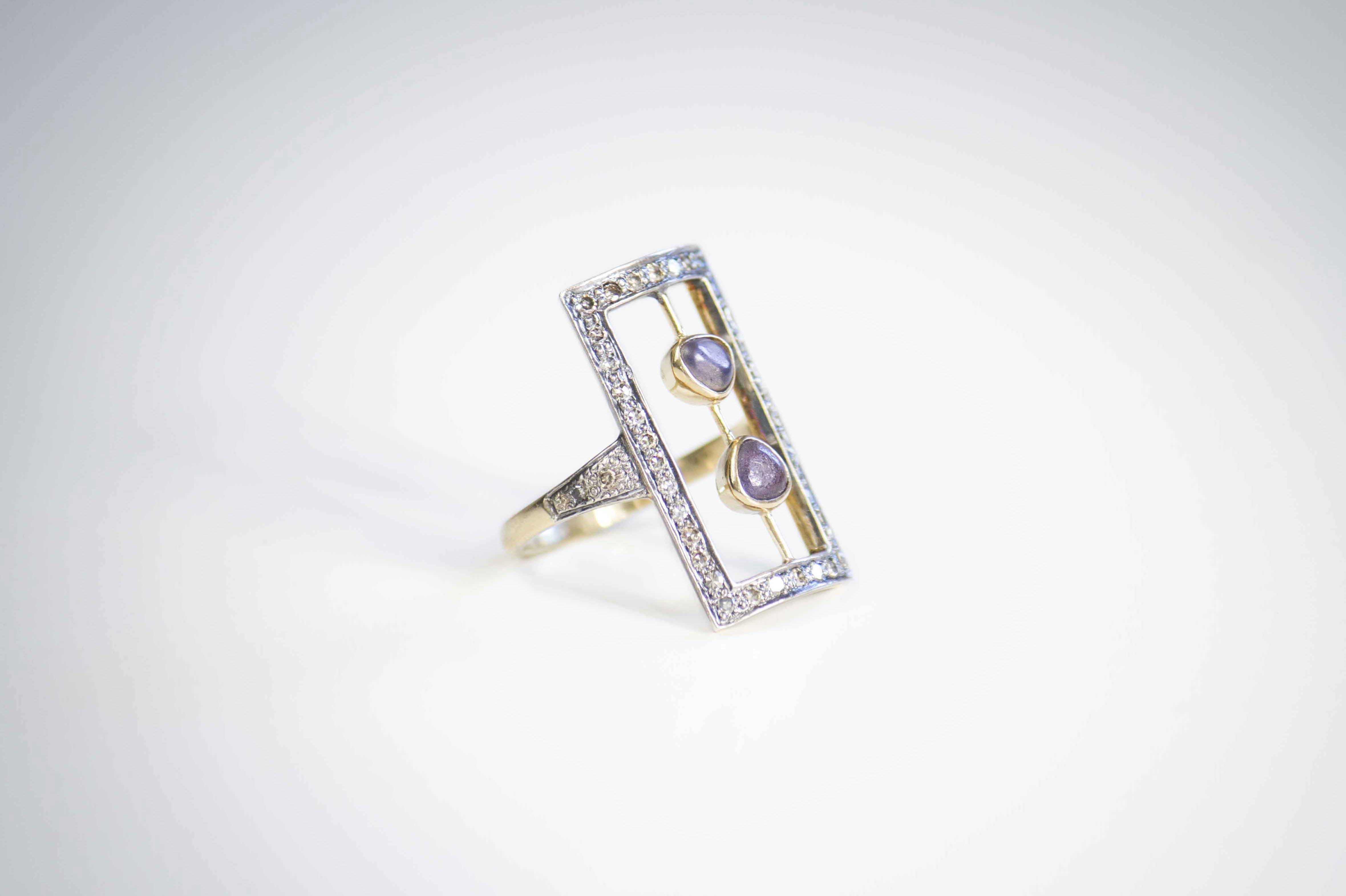 Deco diamonds ring Deco style ring crafted in yellow gold with diamond pave and rough spinels