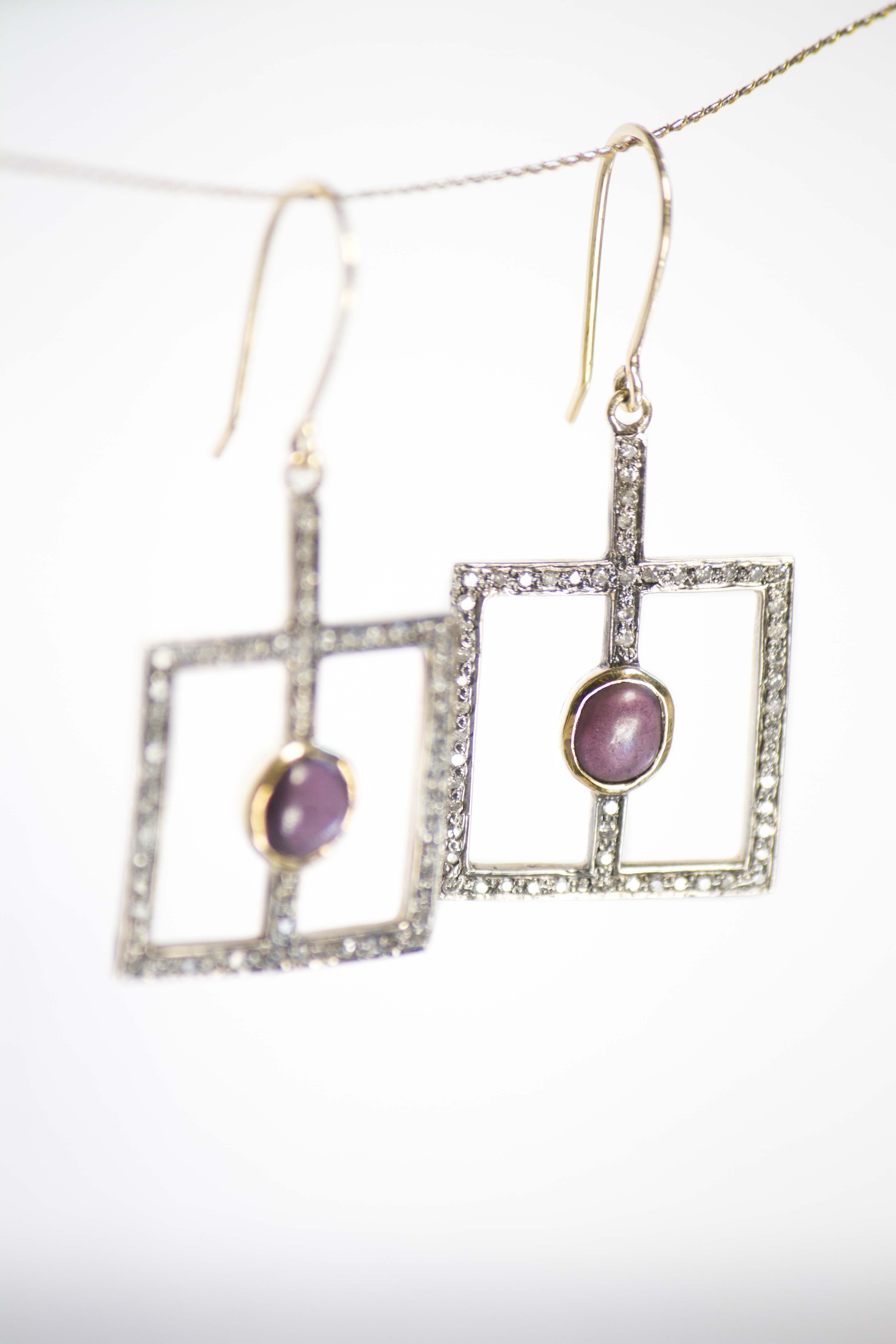 deco diamonds drop earrings Unique square drop earrings crafted in 14k yellow gold with diamond pave and rough spinels.