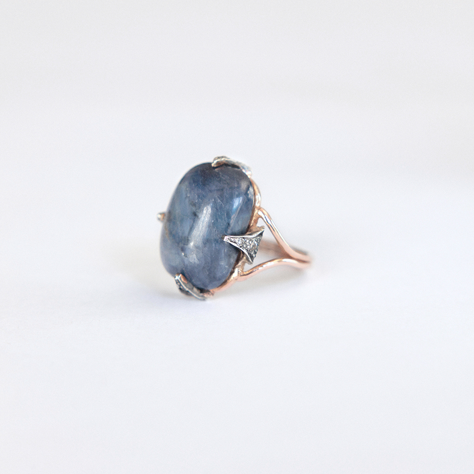 cabochon sapphire ring handcrafted