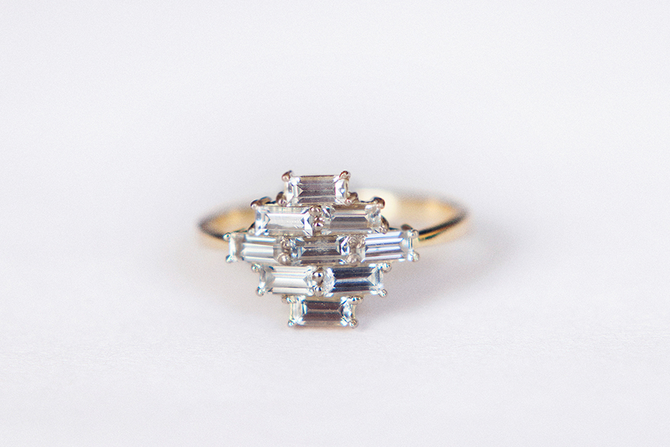 baguette white sapphires ring