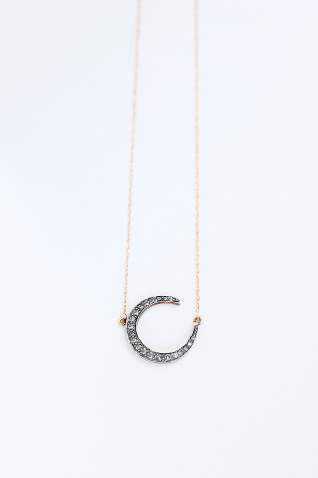 diamonds moon necklace handmade