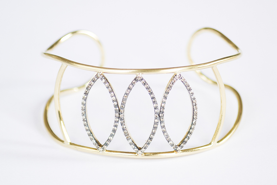 leaves diamonds cuff handcrafted